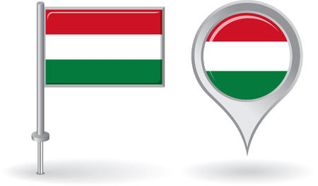 hungarian pointer: Hungarian pin icon and map pointer flag