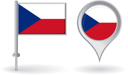 Czech pin icon and map pointer flag Vector