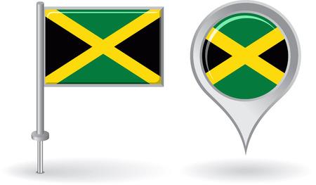 jamaican: Icono de pin de Jamaica y el mapa de la bandera de puntero