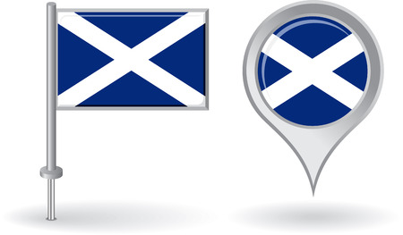 uk map: Scottish pin icon and map pointer flag