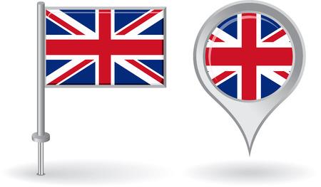 Icona pin britannico e mappa puntatore bandiera Archivio Fotografico - 39856813