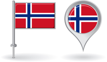 norwegian flag: Norwegian pin icon and map pointer flag