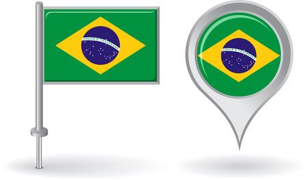 brazilian: Brazilian pin icon and map pointer flag Illustration
