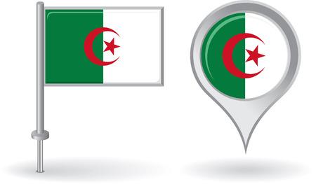 algerian flag: Algerian pin icon and map pointer flag
