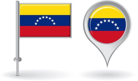 venezuelan: Icono de pin de Venezuela y el mapa de la bandera de puntero