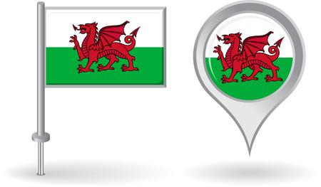 welsh flag: Icona della puntina gallese e mappa puntatore bandierina Vettoriali