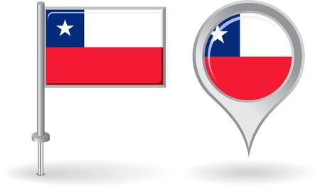 bandera chilena: Icono de pin de Chile y mapa de la bandera de puntero