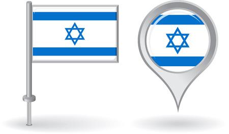 israeli: Israeli pin icon and map pointer flag Illustration