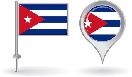 cubana: Icono de pin cubana y mapa de la bandera de puntero Vectores