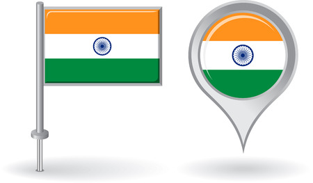 flag icons: Indian pin icon and map pointer flag