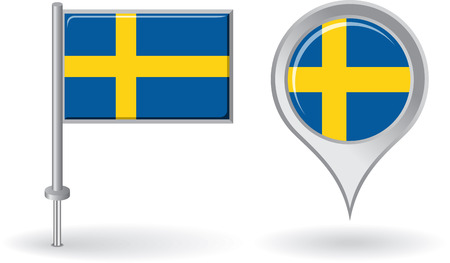 swedish: Swedish pin icon and map pointer flag