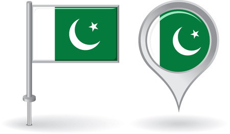 pakistani: Pakistani pin icon and map pointer flag