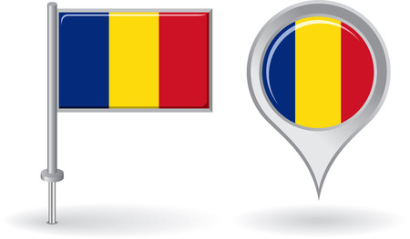 romanian: Romanian pin icon and map pointer flag