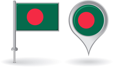 bangladesh: Bangladesh pin icon and map pointer flag Illustration
