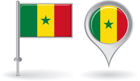 senegalese: Senegalese pin icon and map pointer flag