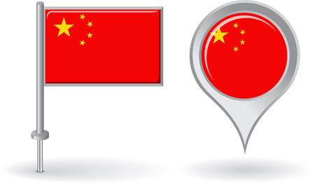 mapa de china: Icono de pin chino y bandera de mapa de puntero