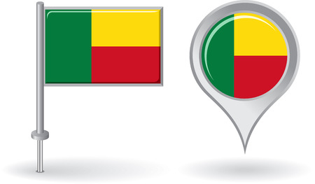 Benin pin icon and map pointer flag Illustration