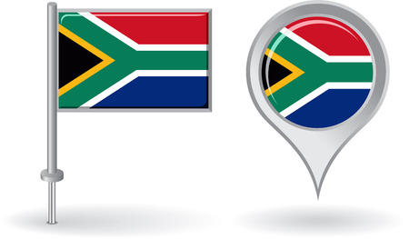 south african flag: South African pin icon and map pointer flag