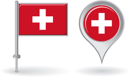 swiss flag: Swiss pin icon and map pointer flag