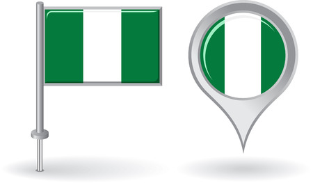nigerian: Nigerian pin icon and map pointer flag