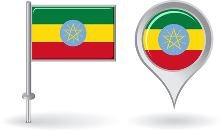ethiopian: Ethiopian pin icon and map pointer flag