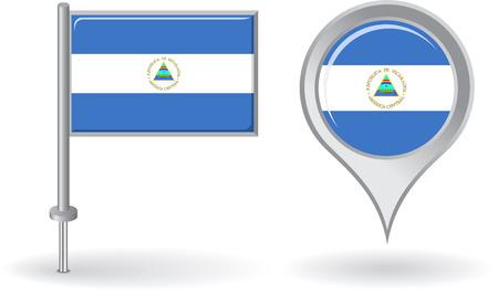 nicaraguan: Nicaraguan pin icon and map pointer flag Illustration