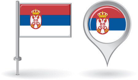 serbian: Serbian pin icon and map pointer flag