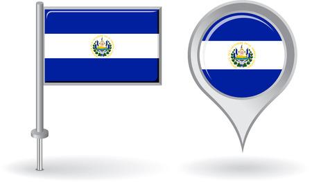 mapa de el salvador: El Salvador icono de alfiler y mapa de la bandera de puntero Vectores