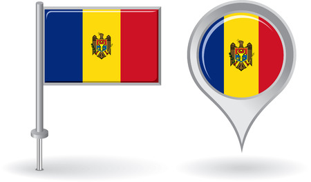 moldovan: Moldovan pin icon and map pointer flag