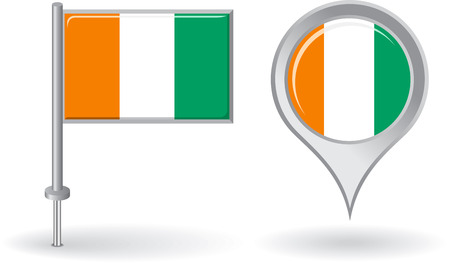 cote ivoire: Cote d Ivoire pin icon and map pointer flag Illustration