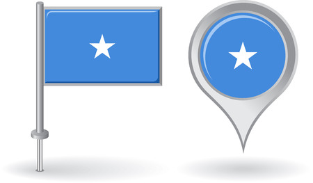 somalian: Somalian pin icon and map pointer flag