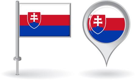 slovak: Slovak pin icon and map pointer flag Illustration