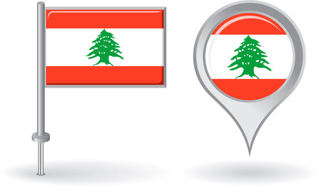 lebanese: Lebanese pin icon and map pointer flag