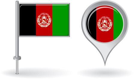 afghan flag: Afghanistan pin icon and map pointer flag Illustration