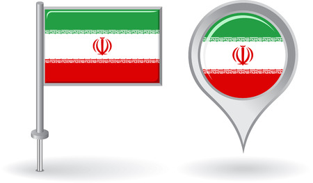 iranian: Iranian pin icon and map pointer flag
