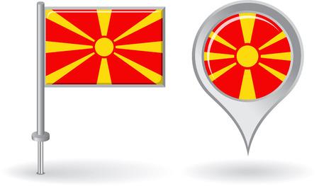 macedonian flag: Macedonian pin icon and map pointer flag