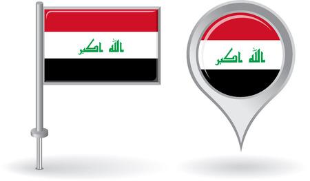 iraqi: Iraqi pin icon and map pointer flag. Vector Illustration
