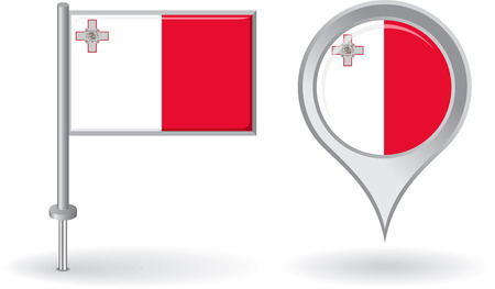 maltese map: Maltese pin icon and map pointer flag