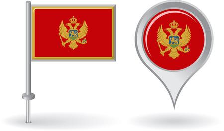 montenegro: Montenegro pin icon and map pointer flag