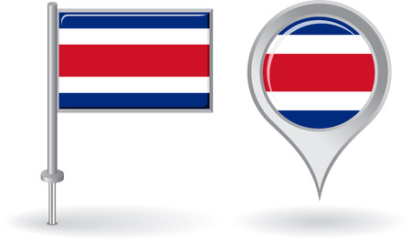 rican: Costa Rica icono de alfiler y mapa de la bandera de puntero