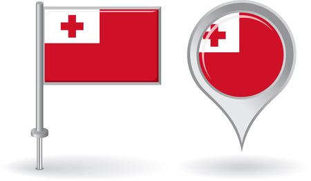 tonga: Tonga pin icon and map pointer flag