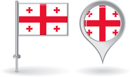 georgian: Georgian pin icon and map pointer flag