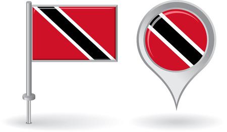 trinidad: Trinidad and Tobago pin icon, map pointer flag Illustration
