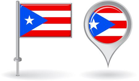 rican: Puerto Rico icono de alfiler y mapa de la bandera de puntero