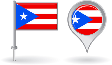 puerto rico: Puerto Rico pin icon and map pointer flag Illustration