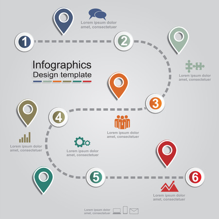 Infographic report template with arrows and icons. Vector Ilustracja