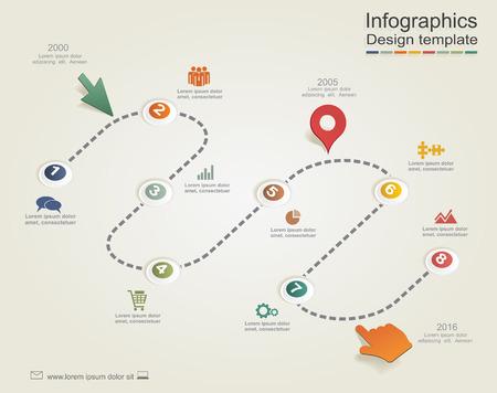 flujo: Infografía plantilla de informe con las flechas y los iconos. Vector