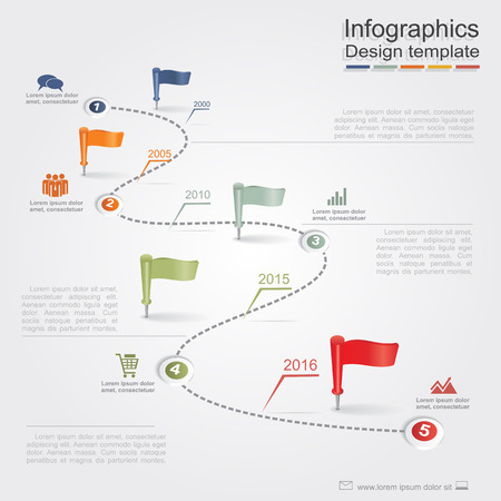 Infographic design template with elements and icons. Vector Ilustração