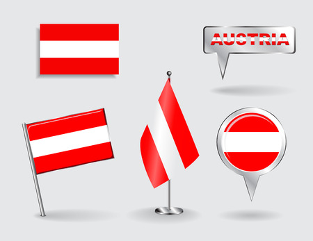 Set of Austrian pin, icon and map pointer flags. Vector