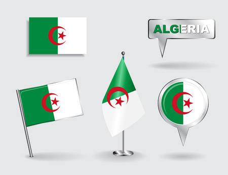 algerian: Set of Algerian pin, icon and map pointer flags. Vector Illustration